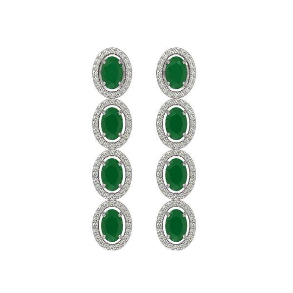6.47 ctw Emerald & Diamond Micro Pave Halo Earrings 10k White Gold - REF-143W6H