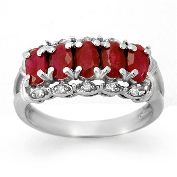 2.0 ctw Ruby & Diamond Ring 10k White Gold - REF-21N4F