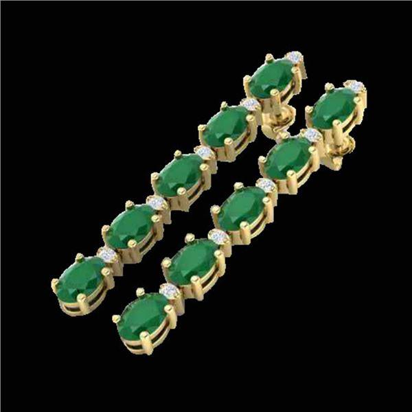 7 ctw Emerald & VS/SI Diamond Certified Tennis Earrings 10k Yellow Gold - REF-49K9Y