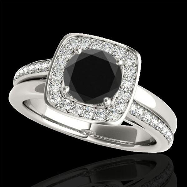 1.33 ctw Certified VS Black Diamond Solitaire Halo Ring 10k White Gold - REF-53G2W