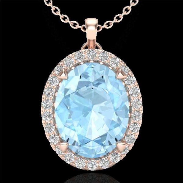 2.75 ctw Aquamarine & Micro VS/SI Diamond Halo Necklace 14k Rose Gold - REF-42F3M