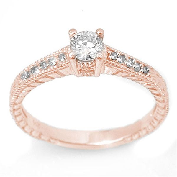 0.70 ctw Certified VS/SI Diamond Solitaire Ring 14k Rose Gold - REF-81G5W