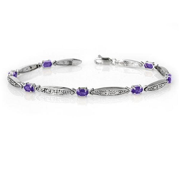 1.82 ctw Tanzanite & Diamond Bracelet 10k White Gold - REF-36Y6X
