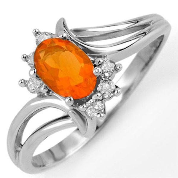 0.50 ctw Opal & Diamond Ring 10k White Gold - REF-15F3M