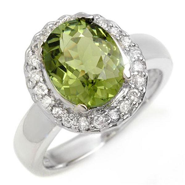 3.40 ctw Green Tourmaline & Diamond Ring 10k White Gold - REF-86N2F