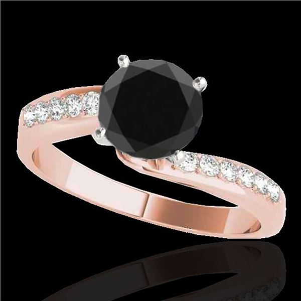 1.4 ctw Certified VS Black Diamond Bypass Solitaire Ring 10k Rose Gold - REF-40K6Y