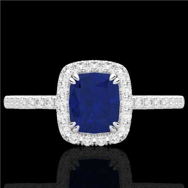 1.25 ctw Sapphire & Micro Pave VS/SI Diamond Ring 10k White Gold - REF-30G8W