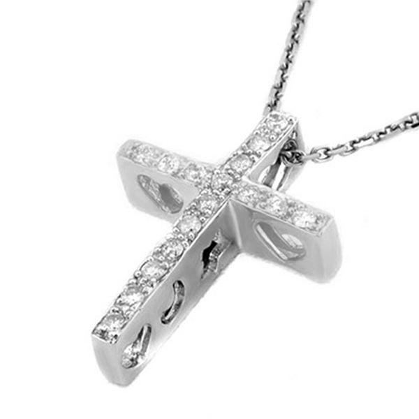 0.17 ctw Certified VS/SI Diamond Necklace 18k White Gold - REF-28M9G