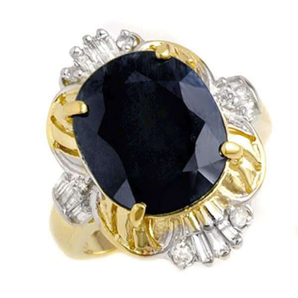 8.51 ctw Blue Sapphire & Diamond Ring 14k Yellow Gold - REF-81K8Y