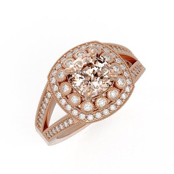 2.29 ctw Certified Morganite & Diamond Victorian Ring 14K Rose Gold - REF-107H3R