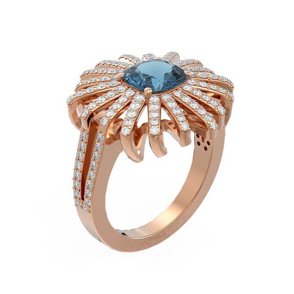 3.05 ctw London Topaz & Diamond Ring 18K Rose Gold - REF-174X4A