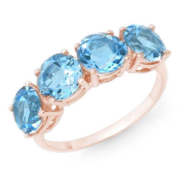 3.66 ctw Blue Topaz Ring 18k Rose Gold - REF-25G4W