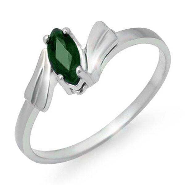0.20 ctw Emerald Ring 18k White Gold - REF-16G9W
