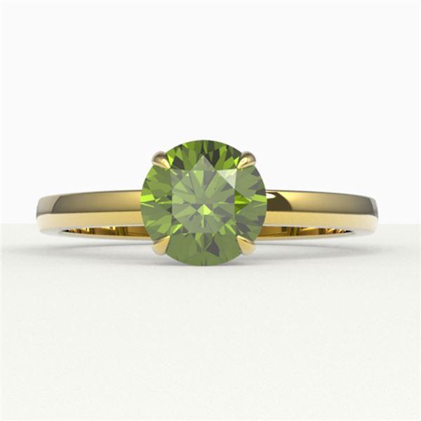 2 ctw Green Tourmaline Designer Engagment Ring 18k Yellow Gold - REF-40H9R