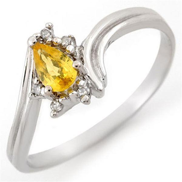 0.35 ctw Yellow Sapphire & Diamond Ring 10k White Gold - REF-12M3G