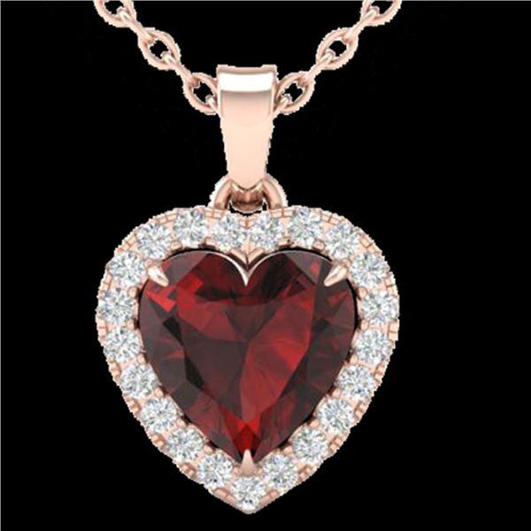 1 ctw Garnet & Micro Pave VS/SI Diamond Heart Necklace 14k Rose Gold - REF-21M3G