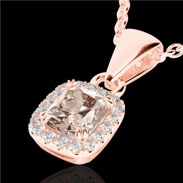 1.25 ctw Morganite & Micro Pave VS/SI Diamond Necklace 10k Rose Gold - REF-25Y9X