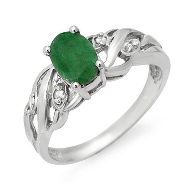 0.82 ctw Emerald & Diamond Ring 18k White Gold - REF-25Y2X