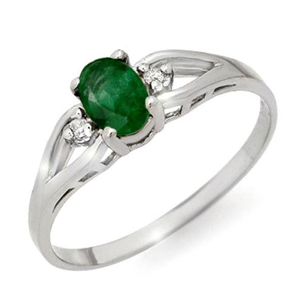 0.56 ctw Emerald & Diamond Ring 18k White Gold - REF-14M2G