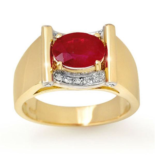 2.33 ctw Ruby & Diamond Men's Ring 10k Yellow Gold - REF-46A5N