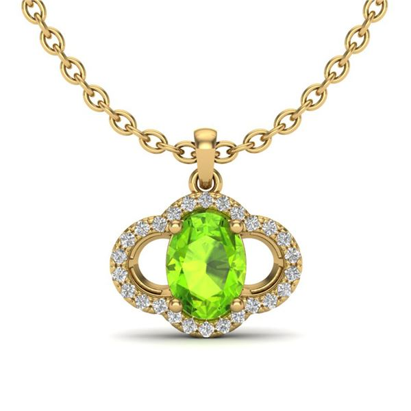 1.75 ctw Peridot & Micro Pave VS/SI Diamond Necklace 10k Yellow Gold - REF-25H3R