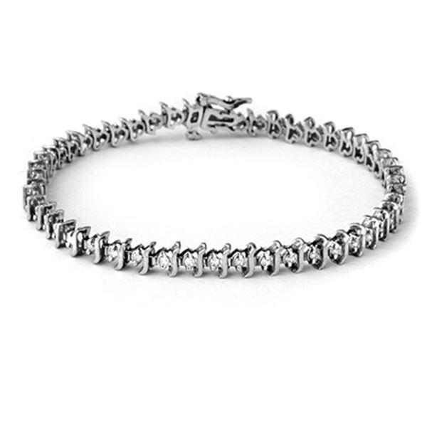 1.0 ctw Certified VS/SI Diamond Bracelet 10k White Gold - REF-65R5K