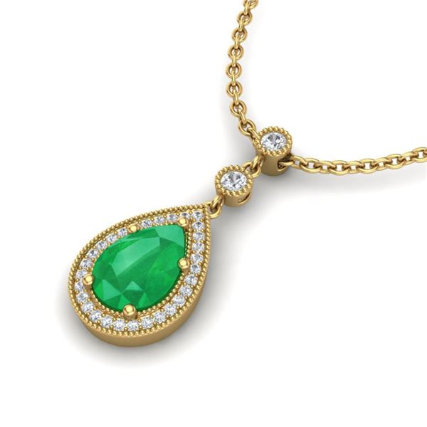 2.75 ctw Emerald & Micro Pave VS/SI Diamond Necklace 18k Yellow Gold - REF-44A4N