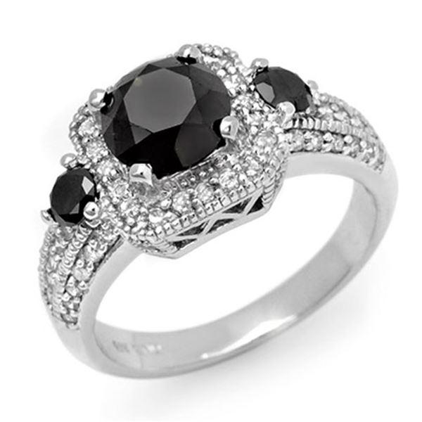 2.60 ctw VS Certified Black & White Diamond Ring 14k White Gold - REF-110H4R