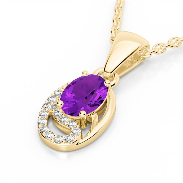 1.25 ctw Amethyst & Micro VS/SI Diamond Certified Necklace 10k Yellow Gold - REF-18H4R
