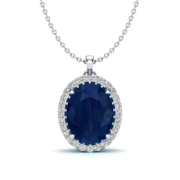 2.75 ctw Sapphire & Micro VS/SI Diamond Halo Necklace 18k White Gold - REF-40F9M