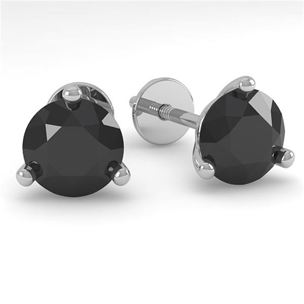 1.0 ctw Black Certified Diamond Stud Earrings Martini 18k White Gold - REF-27K8Y