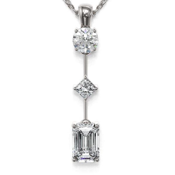 1.16 ctw Emerald Cut Diamond Designer Necklace 18K White Gold - REF-214X9A