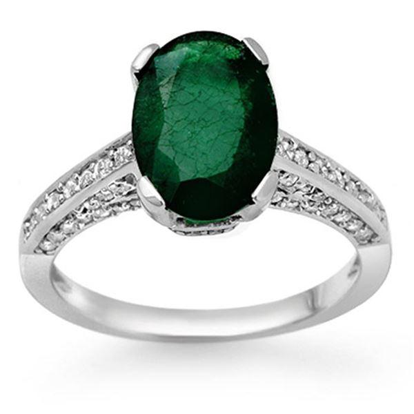 3.25 ctw Emerald & Diamond Ring 10k White Gold - REF-81K8Y