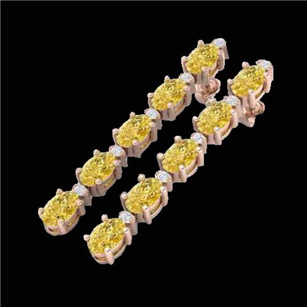 6 ctw Citrine & VS/SI Diamond Certified Tennis Earrings 10k Rose Gold - REF-33H4R