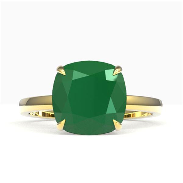 6 ctw Cushion Emerald Designer Engagment RNG 18k Yellow Gold - REF-55M2G