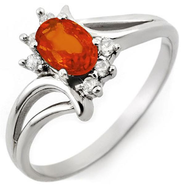 0.70 ctw Orange Sapphire & Diamond Ring 10k White Gold - REF-13G5W