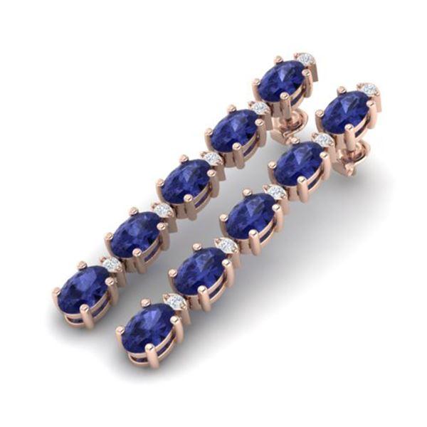 6 ctw Tanzanite & VS/SI Diamond Certified Tennis Earrings 10k Rose Gold - REF-52R8K