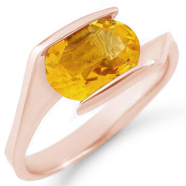 2.0 ctw Citrine Ring 10k Rose Gold - REF-14F2M