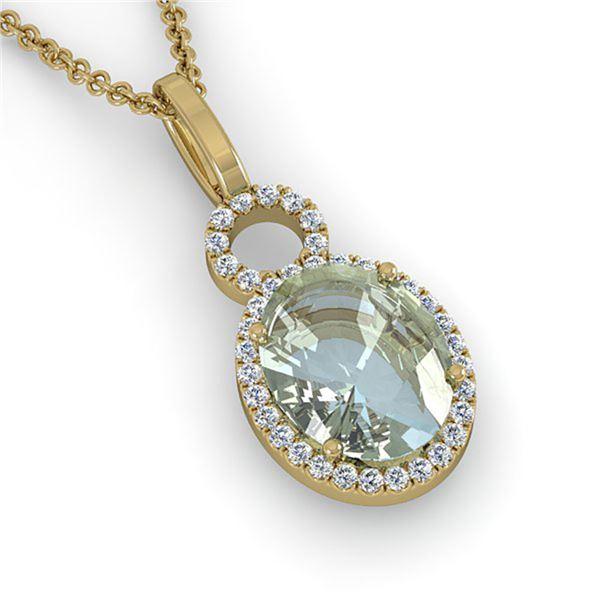 3 ctw Aquamarine & Micro Pave VS/SI Diamond Necklace 14k Yellow Gold - REF-47K9Y