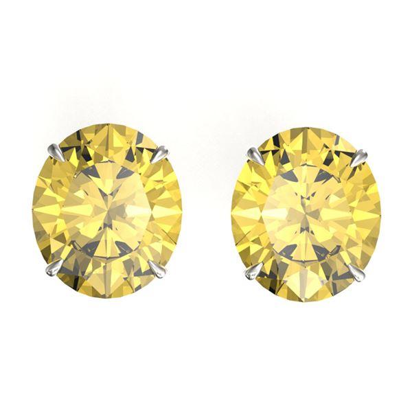 18 ctw Citrine Designer Stud Earrings 18k White Gold - REF-53X3A
