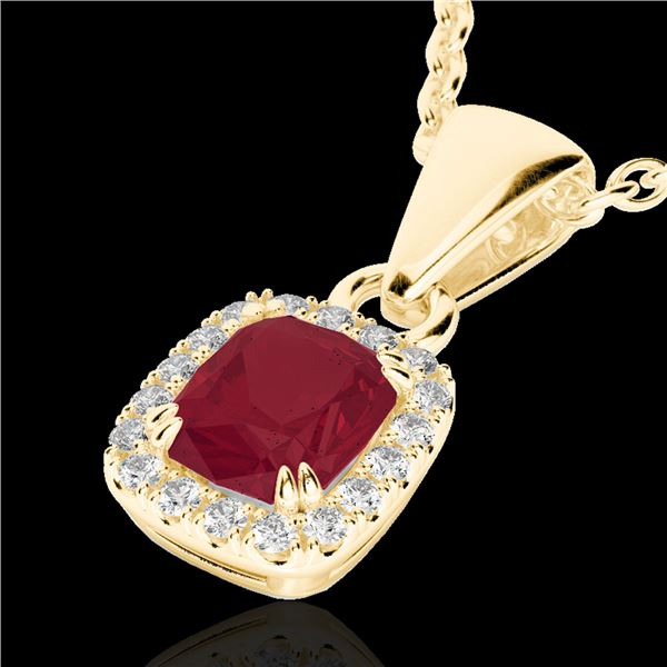 1.25 ctw Ruby & Micro Pave VS/SI Diamond Certified Necklace 10k Yellow Gold - REF-23H9R