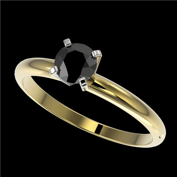 0.50 ctw Fancy Black Diamond Solitaire Engagment Ring 10k Yellow Gold - REF-19F2M