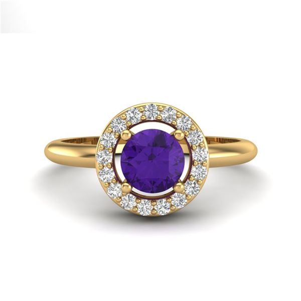 0.75 ctw Amethyst & Micro VS/SI Diamond Certified Ring 18k Yellow Gold - REF-33W3H