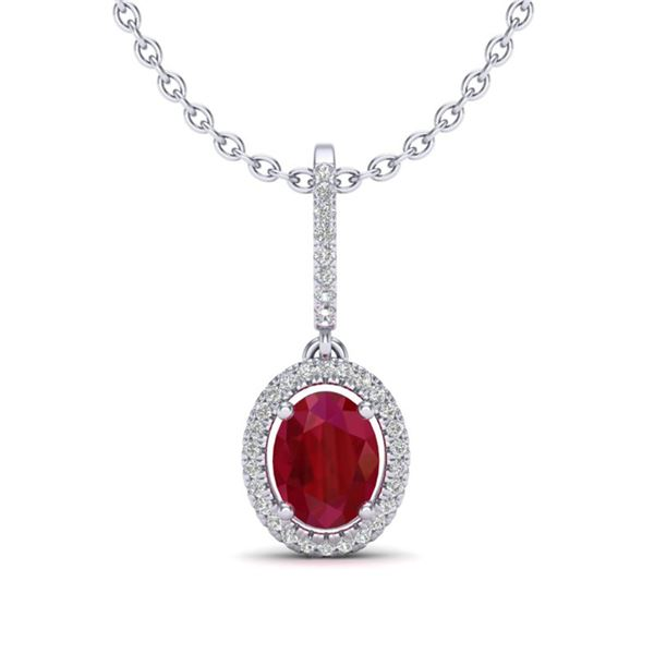 2 ctw Ruby & Micro Pave VS/SI Diamond Necklace Halo 18k White Gold - REF-55A2N
