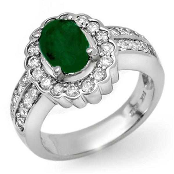 2.25 ctw Emerald & Diamond Ring 18k White Gold - REF-118F2M
