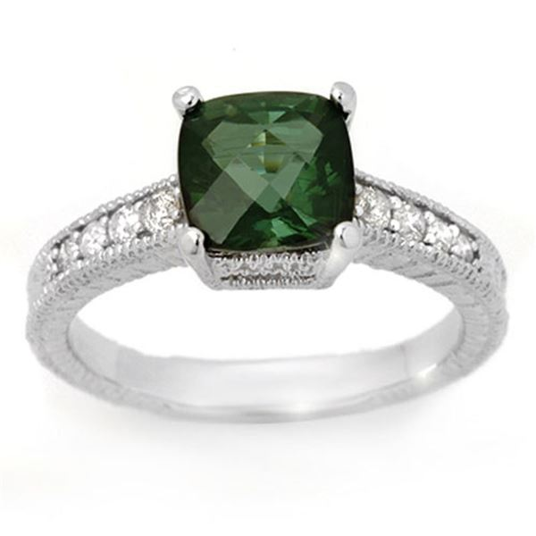 2.25 ctw Green Tourmaline & Diamond Ring 14k White Gold - REF-50G3W