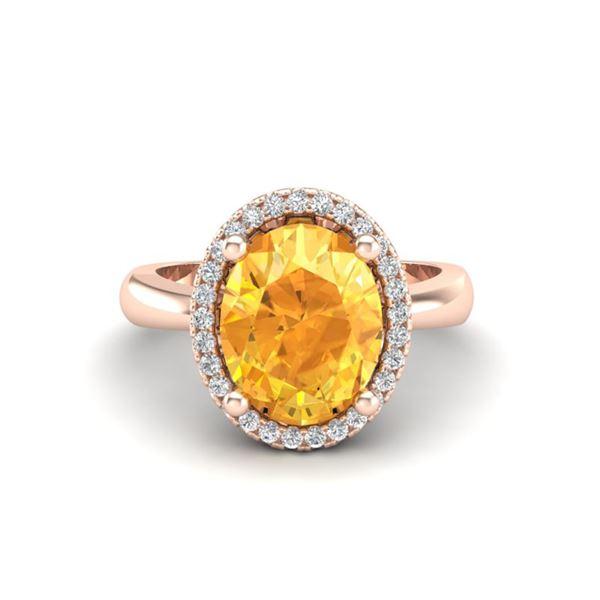 2.50 ctw Citrine & Micro Pave VS/SI Diamond Ring 14k Rose Gold - REF-29X2A