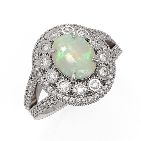 3.93 ctw Certified Opal & Diamond Victorian Ring 14K White Gold - REF-149H3R