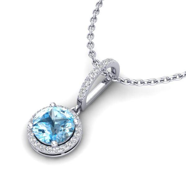 2.75 ctw Sky Blue Topaz & Micro Pave Diamond Necklace 18k White Gold - REF-39X5A