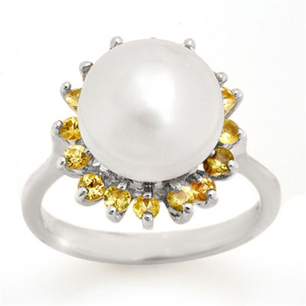 0.75 ctw Yellow Sapphire & Pearl Ring 18k White Gold - REF-40A2N